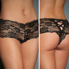 Women's Black Floral Lace Lingerie Criss Cross Underwear Boyshort Thong Panties