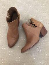 Aldo Tan Boots Size 5 ankle cowboy block heel zip side