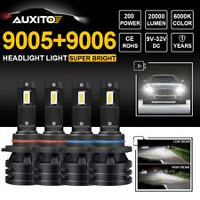 4PCS Combo 9005 9006 LED Headlight Hi/Lo Beam Bulb For Chevy Silverado 1999-2006