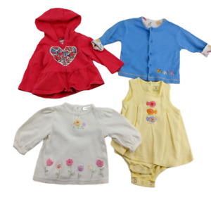 Lot of 4 Baby Girl Clothes 9 Months Kissy Kissy Carters Flower Sweatshirts Dress