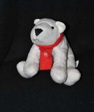 Peluche doudou ours blanc polaire LBVYR Yves Rocher écharpe rouge 18 cm TTBE