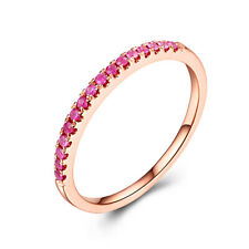 Wedding & Valentine's Day Band Ring 10K Rose Gold Flawless Red Rubies Jewelry