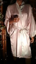 Vtg 80'S Victoria'S Secret New L Xl Pink Satin Gold Label Asian Kimono Robe Gift