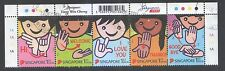 SINGAPORE 2013 GREETINGS - SIGN LANGUAGE SE-TENANT SET OF 5 STAMPS IN FINE USED