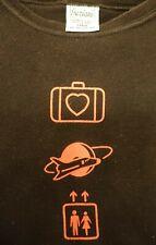 U2 Elevation Tour 2001 Adult Ladies Black Babydoll T-Shirt Size Large W/Symbols