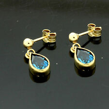 9ct Yellow Gold Real Pear London Blue Topaz  Dropper Earrings Boxed