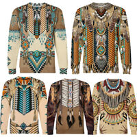 Indian Style Men's 3D Pullover Sweatshirt Slim Casual Shirt Sweater Dress Tops