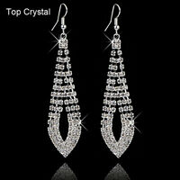 Fashion Women Silver Rhinestone Crystal Elegant Ear Hook Stud Dangle Earrings