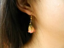 REAL Flower ROSE Dipped Lacquer Earring Jewelry Gold 18K Hook Stunning Pink