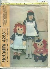 """M 4268 sewing pattern 36"""" Raggedy Ann/Andy DOLL & CLOTHES Apron fits girl 2 to 6"""