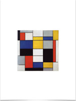 PIET MONDRIAN COMPOSITION A RED BLUE YELLOW BLACK GRAY LIMITED EDITION ART PRINT