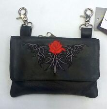 Genuine Leather Belt Bag - Hip Purse - Studded - Red Rose Biker / Motorcycle