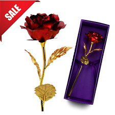 Red Rose Valentines Day Gifts For Her Womens Artificial Flower 24K Gold Foil
