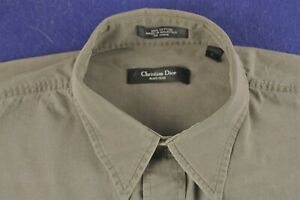 CHRISTIAN DIOR faded distressed olive green cotton casual work shirt size L