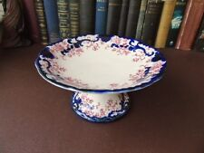 Antique Flow Blue Tazza / Compote - J.Plant T/A Stoke Pottery c 1897 Kandy Patte