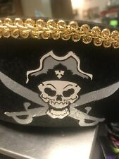 Happy Halloween Pirate Hat Cap Lid Adult Size S - M Costume Structured Black