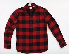 Levi's Flannel Shirt Men's Buffalo Plaid Red & Black Cotton Long Sleeve Size M