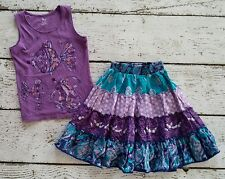 CHILDREN'S PLACE Purple Fish Tank and Flowing Floral Skirt 6 7 8 EUC