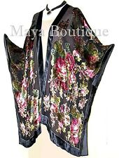 Silk Caftan Kimono Jacket Velvet Black Multi Gypsy Rose Maya Matazaro USA Made