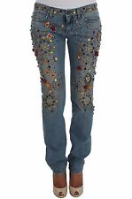 NEW $1500 DOLCE & GABBANA Jeans Crystal Roses Heart Embellished IT38 / US4 / XS