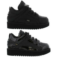 Buffalo 1330 / 1330-4 Womens Black leather Trainers Shoes Size 4-9