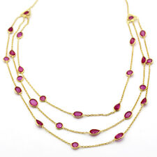 Natural Ruby Three Layer Statement Necklace Gold Plated Sterling Silver