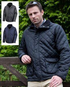 Result Diamond Quilted BLACK or BLUE Uni-Sex Mens Coat Jacket