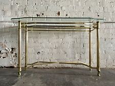 Vintage Brass Gold Glass Hall Couch Table Mid Century Modern Baughman BOHO