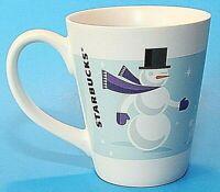Starbucks Ceramic Cup Mug Snowman Rabbit Winter 2011 Large White Blue EUC