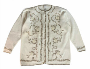 Womens Vintage JENNY Ivory Cream Embroidered Cardigan Sweater Pearl Buttons Sz M