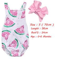 Watermelon Newborn Baby Girl Kids Romper Bodysuit Headband Clothes Outfits 0-24m S