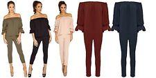 New Women Ladies Off Shoulder Plain Bardot Frill 2 Piece Suit Lounge Set 8-22