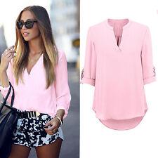 Women Ladies Summer Loose Tops Long Sleeve Shirt Casual Blouse T-shirt #Pink XL