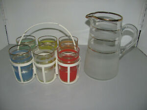 Vintage Retro 70's Set of 6 Drinking Glasses & Jug All In Excelent Condition