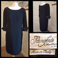 Max Mara Pianoforte Fully Lined Black Shift Dress Size UK 12 Made In Italy