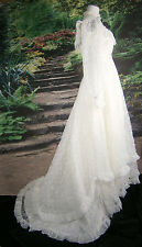 J C PENNEY WEDDING GOWN SIZE 6 VINTAGE WHITE ROSE FLOWER LACE BALL GOWN