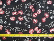 Vintage Black Pink Burgundy Gray White Floral Chiffon Fabric NEW 45 x 33