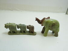 Lot Of 2 Vintage Alabaster Elephant Figurines, 1 Is From India