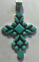 Handmade Sterling Silver and Turquoise Cross Pendant