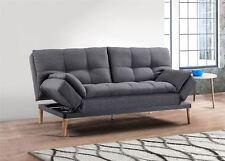 Birlea Squish Sofa Bed 3 Seater Settee Grey Velvet Fabric Scandinavian Retro
