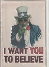 Uncle Sam / Alien emblem Novelty Embossed 8x12 Metal Sign
