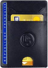 Porte Carte de Credit Pièce Identité Minimaliste  Protection Cartes Bleue Noir