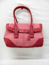 Coach 7080 Pink Signature Soho Flap Jacquard / Leather Suede Bag