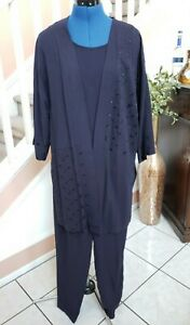 COLDWATER CREEK Blue 3pc  Embroidered 3/4 Sleeve Open Jacket Top Pant Set 12P 12