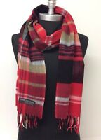 Women's 100% CASHMERE SCARF MADE IN SCOTLAND Plaid Red/Black/White SOFT NEW