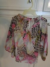 Ladies slipover by Renee /Med/ Splahes of hot pink green and brown A+ condition