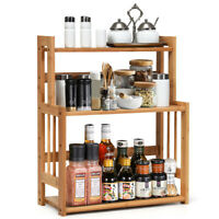 3-Tier Bamboo Spice Rack Kitchen Bathroom Organizer w/ Adjustable Shelf Storage