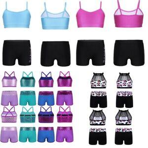 Girl Dance Outfits Kids Ballet Gymnastics Tank Tops+Shorts Bottoms Dancewear