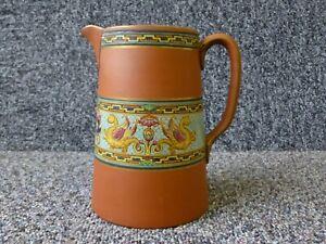 Antique Terracotta Jug Maw Pottery London England Enamel Griffons Decoration