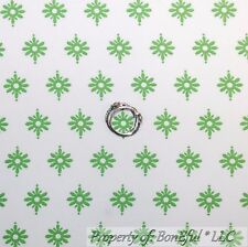 BonEful Fabric FQ Cotton Quilt White Green Flower Dot Stripe Calico Damask Leaf